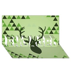 Modern Geometric Black And Green Christmas Deer Engaged 3d Greeting Card (8x4)  by Dushan