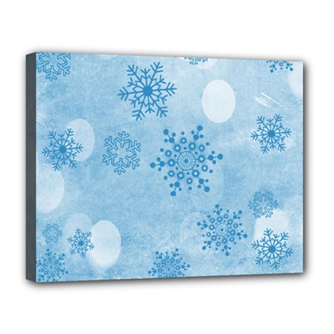 Winter Bokeh Blue Canvas 14  X 11  by MoreColorsinLife