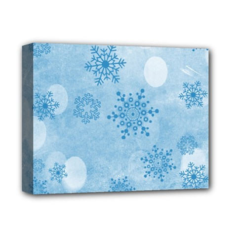 Winter Bokeh Blue Deluxe Canvas 14  X 11  by MoreColorsinLife
