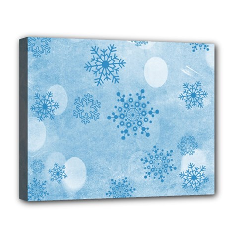 Winter Bokeh Blue Deluxe Canvas 20  X 16   by MoreColorsinLife