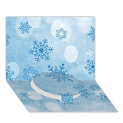 Winter Bokeh Blue Circle Bottom 3d Greeting Card (7x5)  by MoreColorsinLife