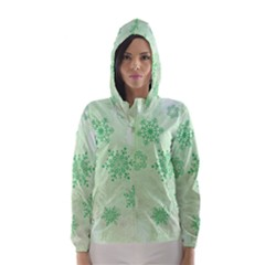Winter Bokeh Green Hooded Wind Breaker (women)