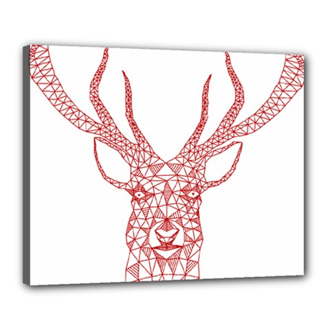 Modern Red Geometric Christmas Deer Illustration Canvas 20  X 16