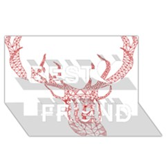 Modern Red Geometric Christmas Deer Illustration Best Friends 3d Greeting Card (8x4)  by Dushan