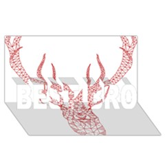Modern Red Geometric Christmas Deer Illustration Best Bro 3d Greeting Card (8x4)  by Dushan