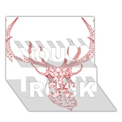 Modern Red Geometric Christmas Deer Illustration You Rock 3d Greeting Card (7x5)  by Dushan