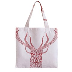 Modern Red Geometric Christmas Deer Illustration Zipper Grocery Tote Bags