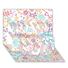 Cute Pastel Tones Elephant Pattern Thank You 3d Greeting Card (7x5)