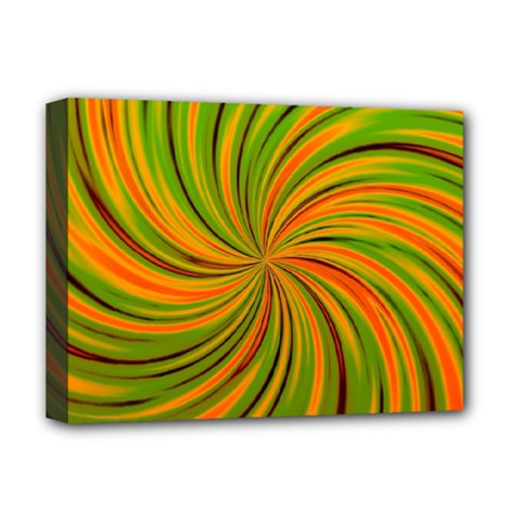 Happy Green Orange Deluxe Canvas 16  X 12   by MoreColorsinLife