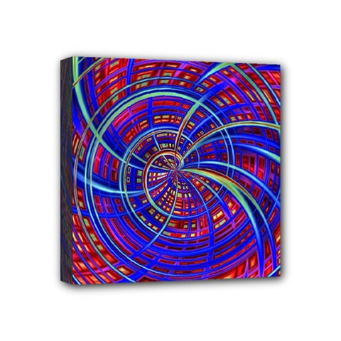Happy Red Blue Mini Canvas 4  X 4  by MoreColorsinLife