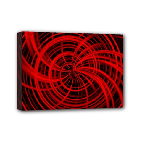Happy, Black Red Mini Canvas 7  X 5  by MoreColorsinLife