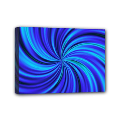 Happy, Blue Mini Canvas 7  X 5  by MoreColorsinLife