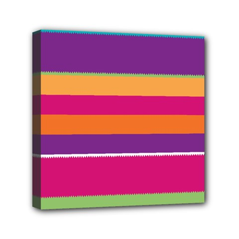Jagged Stripes Mini Canvas 6  X 6  (stretched) by LalyLauraFLM