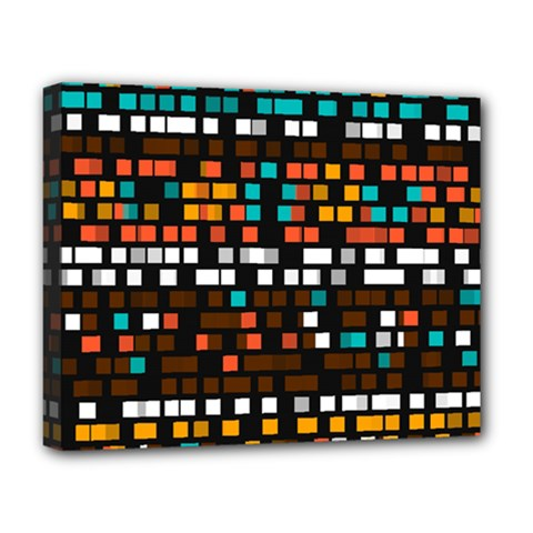 Squares Pattern In Retro Colors Deluxe Canvas 20  X 16  (stretched) by LalyLauraFLM