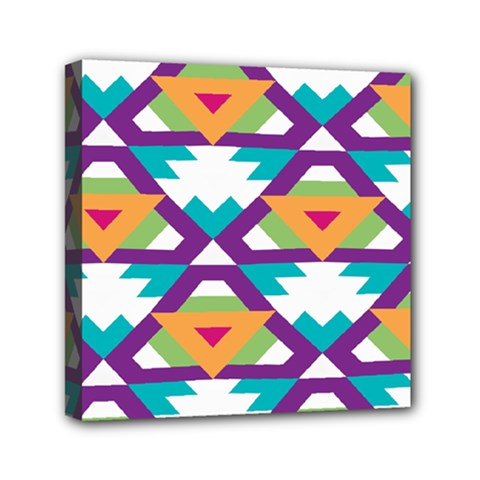 Triangles And Other Shapes Pattern Mini Canvas 6  X 6  (stretched) by LalyLauraFLM