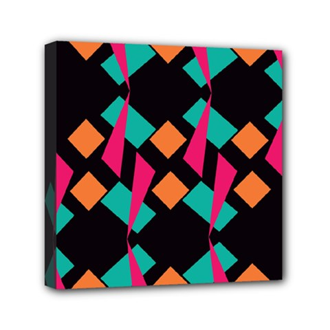 Shapes In Retro Colors  Mini Canvas 6  X 6  (stretched) by LalyLauraFLM