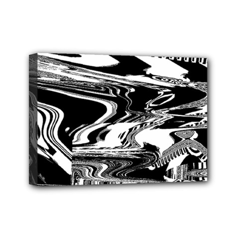 Bw Glitch 1 Mini Canvas 7  X 5  by MoreColorsinLife