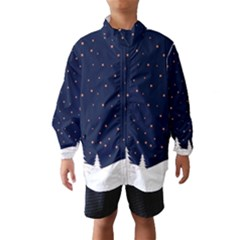Dark Blue Sky Snow Land Wind Breaker (kids) by aopclothing