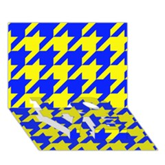 Houndstooth 2 Blue Love Bottom 3d Greeting Card (7x5)  by MoreColorsinLife