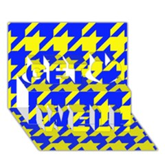 Houndstooth 2 Blue Get Well 3d Greeting Card (7x5)  by MoreColorsinLife
