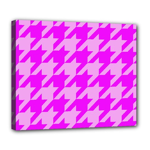 Houndstooth 2 Pink Deluxe Canvas 24  X 20   by MoreColorsinLife