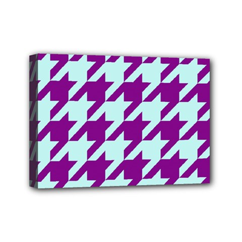 Houndstooth 2 Purple Mini Canvas 7  X 5  by MoreColorsinLife