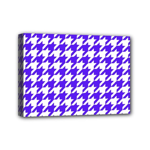 Houndstooth Blue Mini Canvas 7  X 5  by MoreColorsinLife