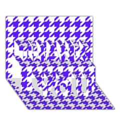 Houndstooth Blue Thank You 3d Greeting Card (7x5)  by MoreColorsinLife