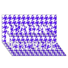 Houndstooth Blue Happy New Year 3d Greeting Card (8x4)  by MoreColorsinLife
