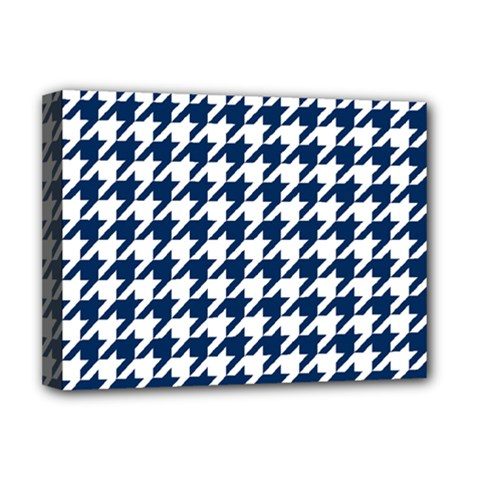 Houndstooth Midnight Deluxe Canvas 16  X 12
