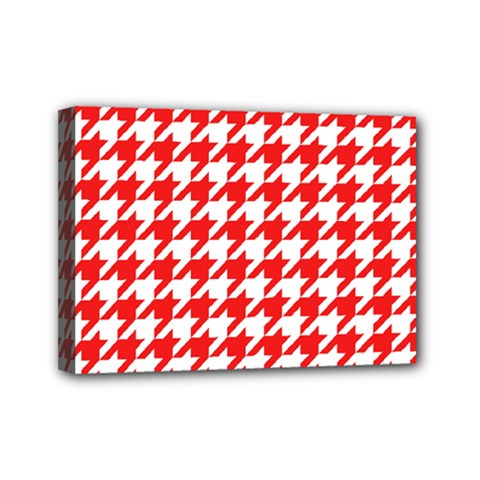 Houndstooth Red Mini Canvas 7  X 5  by MoreColorsinLife