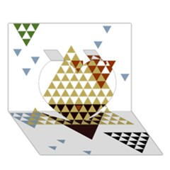 Colorful Modern Geometric Triangles Pattern Heart 3d Greeting Card (7x5)