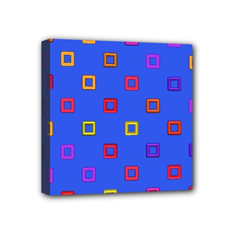 3d Squares On A Blue Background Mini Canvas 4  X 4  (stretched) by LalyLauraFLM
