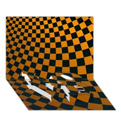 Abstract Square Checkers  Love Bottom 3d Greeting Card (7x5)