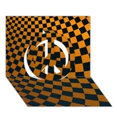 Abstract Square Checkers  Peace Sign 3d Greeting Card (7x5)  by OZMedia