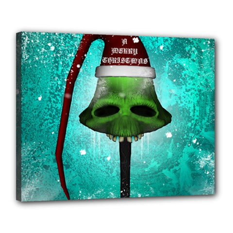 I Wish You A Merry Christmas, Funny Skull Mushrooms Canvas 20  X 16  by FantasyWorld7