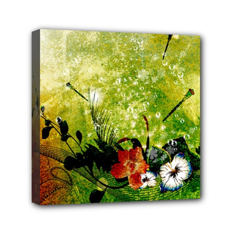 Awesome Flowers And Lleaves With Dragonflies On Red Green Background With Grunge Mini Canvas 6  X 6  by FantasyWorld7