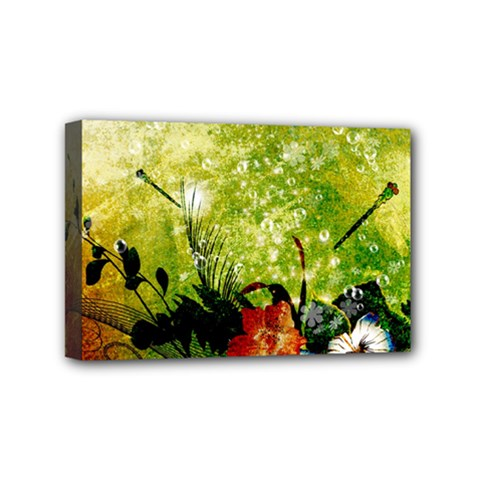 Awesome Flowers And Lleaves With Dragonflies On Red Green Background With Grunge Mini Canvas 6  X 4  by FantasyWorld7