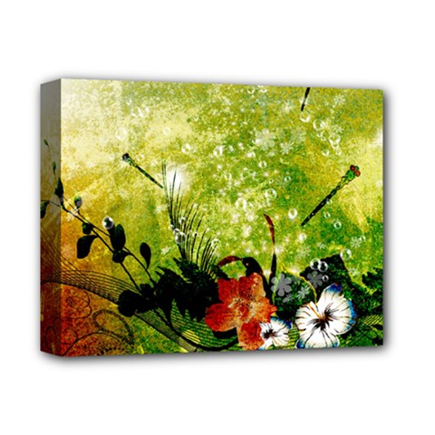 Awesome Flowers And Lleaves With Dragonflies On Red Green Background With Grunge Deluxe Canvas 14  X 11  by FantasyWorld7