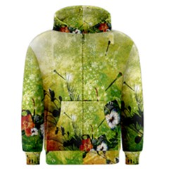 Awesome Flowers And Lleaves With Dragonflies On Red Green Background With Grunge Men s Zipper Hoodies