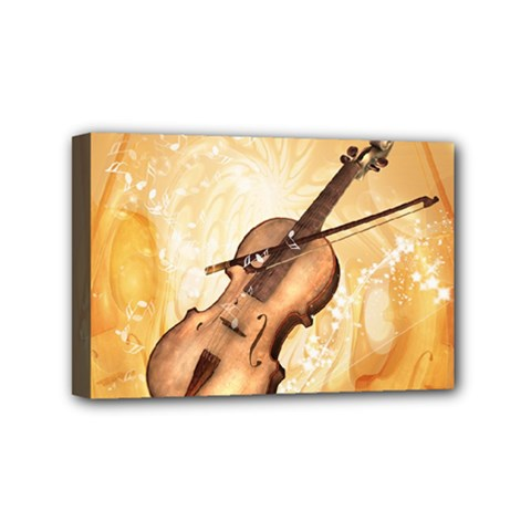 Wonderful Violin With Violin Bow On Soft Background Mini Canvas 6  X 4  by FantasyWorld7