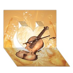 Wonderful Violin With Violin Bow On Soft Background Heart 3d Greeting Card (7x5)