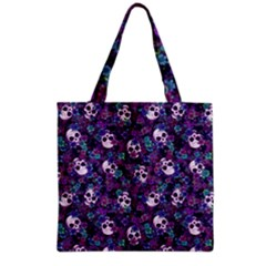 Flowers And Skulls Grocery Tote Bag by Ellador