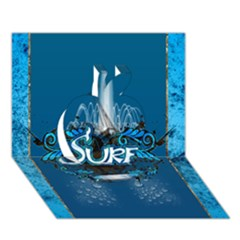 Surf, Surfboard With Water Drops On Blue Background Apple 3d Greeting Card (7x5)  by FantasyWorld7