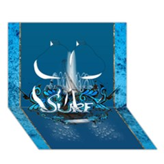 Surf, Surfboard With Water Drops On Blue Background Clover 3d Greeting Card (7x5)  by FantasyWorld7