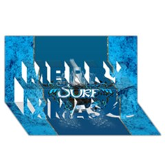 Surf, Surfboard With Water Drops On Blue Background Merry Xmas 3d Greeting Card (8x4)  by FantasyWorld7