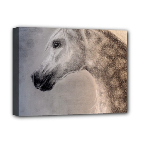 Grey Arabian Horse Deluxe Canvas 16  X 12