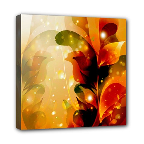 Awesome Colorful, Glowing Leaves  Mini Canvas 8  X 8