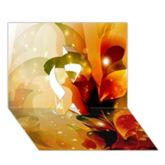 Awesome Colorful, Glowing Leaves  Ribbon 3d Greeting Card (7x5)  by FantasyWorld7