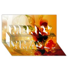 Awesome Colorful, Glowing Leaves  Merry Xmas 3d Greeting Card (8x4)  by FantasyWorld7